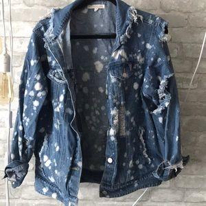 White paint splatter denim jacket